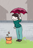 Under the rain. A young woman look at a little seedling under the rain. Digital illustration Stock Photo