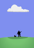 Under The Rain Cloud Walking Dog CArtoon Illustration Royalty Free Stock Photo