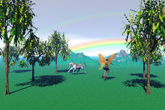 Under The Rainbow. Computer generated scene of Fairy and Unicorn frolicing in a field Royalty Free Stock Photos