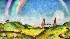 Under the rainbow. Surreal painting. Pigs in the field. Factory at the horizon. Rainbow in the sky Stock Photography