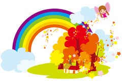 Under the rainbow village Royalty Free Stock Photos