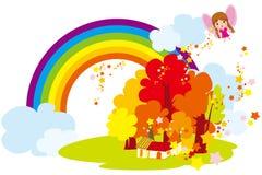 Under the rainbow village. Illustration of  the rainbow village Royalty Free Stock Photos