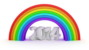 2014 under rainbow. White digits 2014 under rainbow on the white Stock Photography