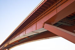 Under red bridge construction Royalty Free Stock Photos