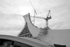 Under repair the Montreal Olympic Stadium  tower. Royalty Free Stock Photo