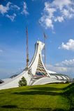Under repair the Montreal Olympic Stadium tower. It`s the tallest inclined tower in the world.Tour Olympique stands 175 meters tall and at a 45-degree angle Royalty Free Stock Photos