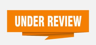Under review. Sign.  paper origami speech bubble.  tag.  banner stock illustration