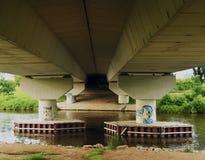 Under road bridge near river Vltava Royalty Free Stock Photography