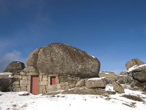 Under rock house in Serra da Estrela Royalty Free Stock Photography