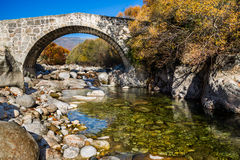 Under a Roman bridge. From Jarandilla with forest background Royalty Free Stock Image