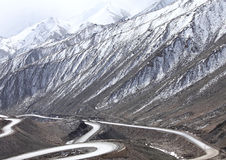 Under the rugged mountain snowcapped mountains of Tibet Royalty Free Stock Photo
