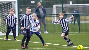 Under 9 years old football cup match. Under 9`s football cup match. Vauxhall Mokkas versus West Kirby Panthers. 10th March 2018 at Ellesmere Port Cheshire stock photos