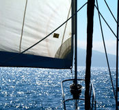 Under Sail. Making landfall on a distant island Royalty Free Stock Photos
