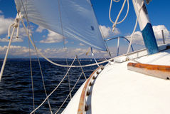 Under sail - looking forward from the deck on star Stock Photo