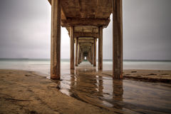 Under the Scripps pier in La Jolla stock photo