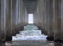 Under the Scripps Pier in La Jolla, California Stock Photo