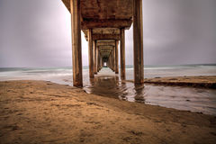 Under the Scripps pier in La Jolla Royalty Free Stock Images