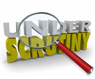 Under Scrutiny Investigation Magnifying Glass Review Suspicion Stock Images