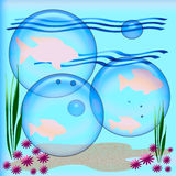 Under the sea. Pink fish and opaque bubbles illustration Royalty Free Stock Photography