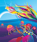 Under the sea abstract vector Stock Image