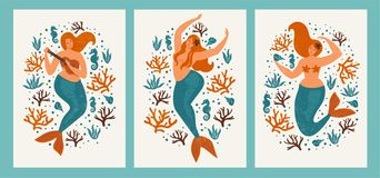 Under the sea card with mermaid, leaves, seashells and fish. Simple and cute illustration in pastel colors. Posters. Under the sea card with mermaid, leaves stock illustration