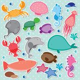 Under the sea clip art. With polka dot background Royalty Free Stock Images