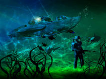 Under the sea. Diver walking underwater, close to the ship and several remains of ships Royalty Free Stock Photography