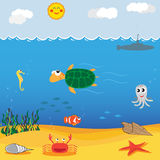 Under sea. Funny animal cartoon with friends under sea Royalty Free Stock Photo