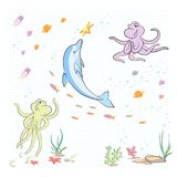Under the sea. The little octopuses having fun with a Dolphin Stock Image
