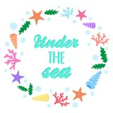 Under the sea marine wreath stock illustration