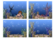 Under the Sea Mermaid Backgrounds. Here is a collection of four Under the Sea themed backgrounds. Two backgrounds with stone, plants, bubbles and water. These stock illustration