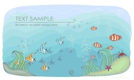 Under the sea, nature concept background. Under the sea, ocean life. Nature concept background vector illustration