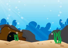 Under the sea scene with detail bottom of the sea Royalty Free Stock Images