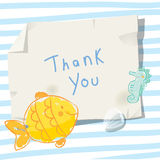Under the sea thank you card. Under the sea, underwater, marine life. Vector cartoon thank you card illustration Royalty Free Stock Image