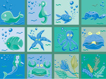 Under the Sea. A variety of characters and elements from the ocean floor Stock Images