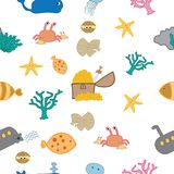 Under sea world seamless pattern royalty free illustration