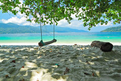 Under the shade of tree and view of Andaman sea Stock Photography