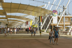 Under shading tensile structure , EXPO 2015 Milan. MILAN, ITALY - August 05: EXPO 2015,  foreshortening of membrane tensile shading structure of Decumano walk Stock Photo