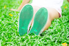 Under shoes shot , Travel or relaxing moment Royalty Free Stock Photography