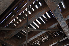Under side of old railroad bridge Royalty Free Stock Images