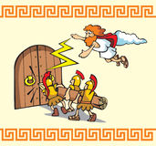 Under the siege!. Scene from Trojan war, Greek warriors breaking the gates, one of the Gods helps them, cartoon vector illustration Royalty Free Stock Photos