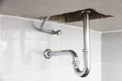 Under sink. Modern design bathroom pipe system under sink Stock Images