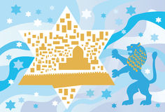 Under sky blue is a city of gold... Background with Star of David and Jerusalem lion Stock Photo