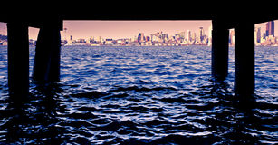 Under the small pier. View of Seattle from a small pier Stock Images