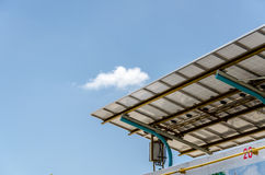Under The Solar Panels Against The Deep Blue Sky Royalty Free Stock Image