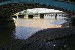 Under Southwark Bridge in London, United Kingdom Royalty Free Stock Photography