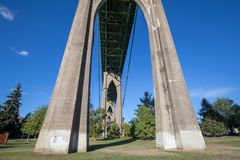 Under the st. johns bridge at cathedral park. In oregon royalty free stock photo
