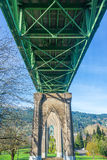 Under St Johns Bridge. View from below St Johns Bridge in Portland, Oregon stock images