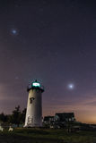 Under the Stars. The lighthouse under the stars, peaceful night Stock Photo