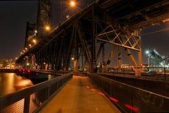 Under the Steel Bridge. In Portland Oregon at Night Stock Photography